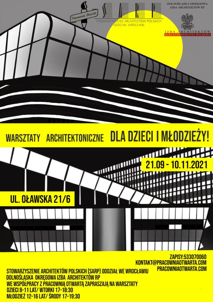 warsztaty architektoniczne SARP dla dzieci i młodzieży projekt plakat Małgorzata Sawicka